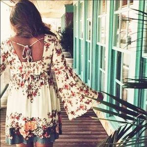 The Elle Boho Bloom Shift Dress w/Bell Sleeves